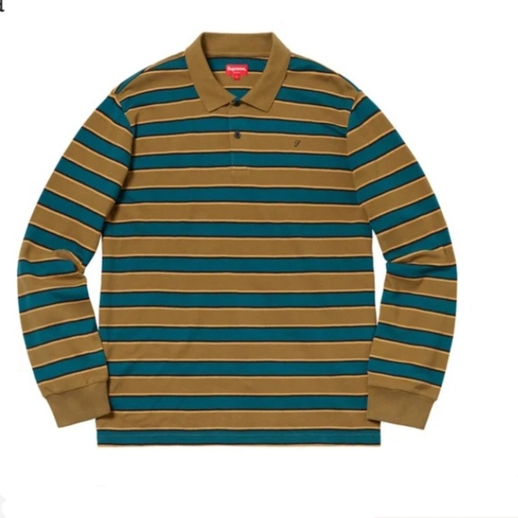 Supreme Men S Striped Long Sleeve Polo Size M